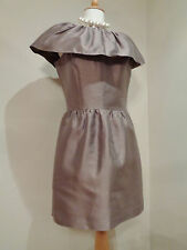 REISS TAUPE SILK BLEND SATIN COLLARED  COCKTAIL DRESS SZ UK 8 CHRISTMAS