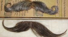lot of 2 ~ Vtg MUSTACHE REAL HUMAN HAIR HAND MADE RARE Free Shipping Stage Props