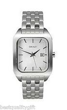 NEW-DKNY SILVER TONE S/STEEL BAND+SQUARE DIAL W/DATE WOMENS WATCH-NY8035