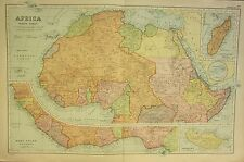 1912 LARGE ANTIQUE MAP ~ AFRICA NORTH ~ INSET WEST COAST MADAGASCAR MADEIRA