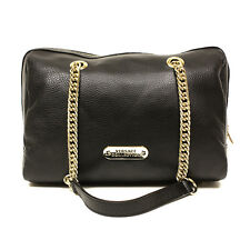 $1095 VERSACE COLLECTION BLACK PEBBLE LEATHER BOSTON CHAIN HANDLE SATCHEL