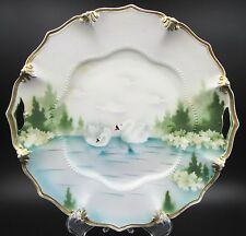 "Antique RS Prussia Scalloped / Bead Swan & Evergreen Scenic 9.5"" Serving Plate"