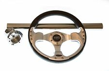 Club Car DS Black and Silver Steering Wheel/Hub Adapter/Chrome Cover Kit 1992+