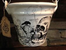 Skull Cemetery  Serving Pail Dish Crow Maxcera Grave Cross New