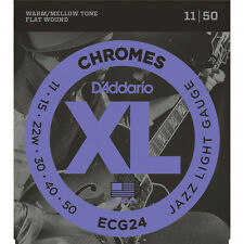 D'Addario ECG24 Chromes Flat Wound Jazz Light Electric Guitar Strings (11-50)