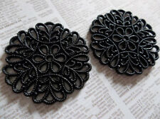 30mm Round Jet Black Lucite Lacy Filigree Connectors - Qty 6