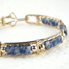 Blue Denium Lapis Gemstone Bangle Bracelet 14K Yellow Gold Filled Jewelry