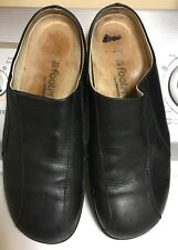 Birkenstock Footprint Black Leather Mules Slip On Clogs Size 41