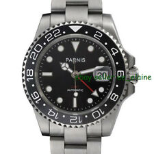 Parnis 40mm Mens Automatic Watch Luminous Mark Red GMT Ceramic Bezel PA4005SRESP