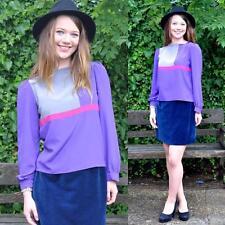 VINTAGE 80's Colour Block Purple Blouse Shirt Top M 10 12 Retro Purple Classic