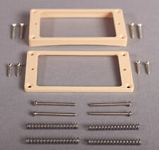Humbucking Pickup Rings Curved Bottom Les Paul® CREAM w All Screws & Springs