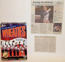 Vtg. Wheaties 12oz CEREAL BOX 1996 Womens Gymnastics Team USA Plus News Article