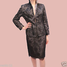 Anoushka G Couture Vintage Inspired 80s Black Lace Skirt Jacket Suit Dress SZ 10