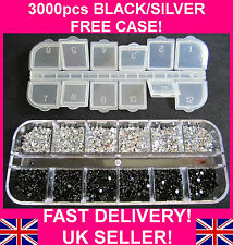 3000pcs BLACK + SILVER/CLEAR RHINESTONES GEMS CRYSTALS FREE CASE FREE DELIVERY