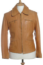 VINTAGE 1960'S TAN LEATHER JACKET HIPSTER M