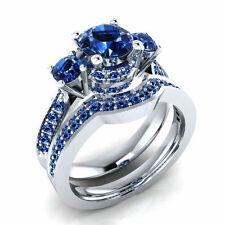 1.62 ct Round Blue Sapphire 10K White Gold Over Bridal Ring Set Free Size