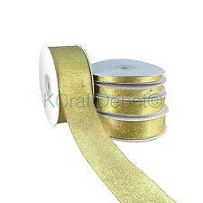 "25 Yards Nylon Metallic Taffeta Ribbon 1/4"" 3/8"" 7/8"" 1.5"" Gold/Silver U-Pick"