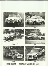 """FORD ESCORT RAC RALLY 'HISTORY' PRESS PHOTO 1972 - 1977 """"brochure related"""""""