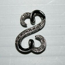Seymour JWBR 925 Sterling Silver & Diamond Double Open Heart Pendant NICE