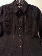 ESPRIT DE CORP Womens Blouse Dark Brown Lace Ribbon pleated front 100% cotton S