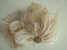 Wedding Fascinator, Bridal Hair Clip, Ivory Feather Fascinator,  Gold Brooch