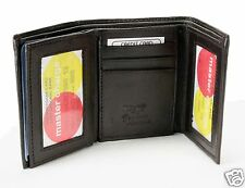 Dark Brown New Mens Trifold Lamb Leather Wallet Multi Pockets Card ID Window 731