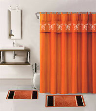 15PC ORANGE BUTTERFLY BATHROOM SET BATH MATS SHOWER CURTAIN FABRIC HOOKS