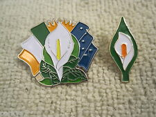 Easter Lily Badges 2pc Set Irelands Tri Color/Starry Flags & Traditional Lily