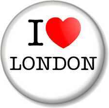 """I Love / Heart LONDON 25mm 1"""" Pin Button Badge England UK Capital City Home Town"""