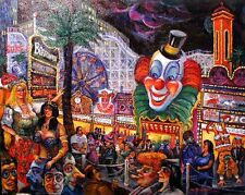 SHOWGIRLS IN LAS VEGAS' CONEY ISLAND CASINO Noted Artist Ari Roussimoff Painting