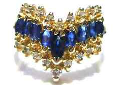 EFFY BH 14K YELLOW GOLD DIAMOND & BLUE SAPPHIRE WOMENS RING BAND SIZE 7