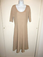 RALPH LAUREN 100% CASHMERE SAND BROWN SCOOP NECK ELBOW SLEEVES DRESS SWEATER L