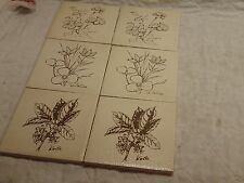 "6 Vintage 1950's Ceramic Tile Flower Mid-Century 4 1/4"" Lappa Kola Listera White"