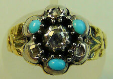 ANTIQUE 18K GOLD (TESTED) TURQUOISE & DIAMOND RING C.1830 SIZE Q1/2, 6.5 GRAMS