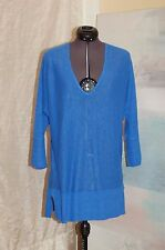 Lilly Pulitzer Blue Linen V-neck 3/4 Sleeves Knit Shirt Top Sweater Size XS/S