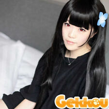 NEW Sankarea Sanka Rea Styled Black Long Straight Cosplay Wig +Free Wig Cap