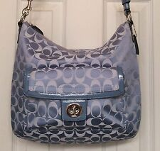 COACH PURSE PENELOPE SIGNATURE BLUE SATEEN CONVERTIBLE SHOULDER BAG 19232
