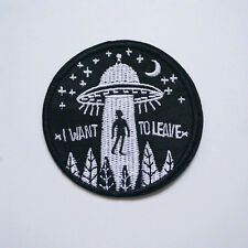 Embroidery Iron Onn Patches Clothing  UFO Alien Flying Saucer Badge DIY Applique