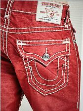 TRUE RELIGION NATURALINE CORDUROY ST MEN JEAN RUBY RED MX3859IT7 NWT 34W $312