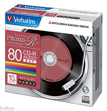 10 Verbatim CD-R Record Design for Music 700MB 24x Speed 5 Colors Phono-R Discs