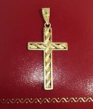MA Vintage 14k Yellow Gold Rope Chain CROSS Religious Pendant Estate Charm 1.5""