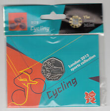 2012 50p OLYMPIC 09/29 CYCLING COIN HANGING BAG BRILLIANTLY UNCIRCULATED !