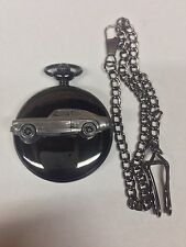 Ford Capri Mk3 ref74 Pewter Effect Car on a polished black case pocket watch