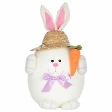 White And Pink Easter Bunny Rabbit Decoration Decor With Straw Hat And Carrot