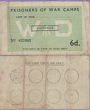 """Germany""""Prisoners Of War Camps"""",Sixpence 1944, Fine Condition,""""Rare"""""""