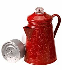 GSI Outdoors Enamelware 8 Cup Percolator Red ~ Coffee Pot Hiking, Camping