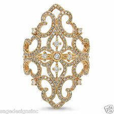 Antique Design 14K Rose Gold Vintage Paisley Diamond Wide Cocktail Lace Ring