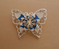 Blue Enamel and Crystal Butterfly Brooch
