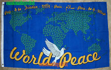 3'x5' WORLD PEACE FLAG BANNER SIGN OUTDOOR INDOOR MAP DOVE EARTH LANGUAGES 3X5