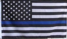 THIN BLUE LINE FLAG BLACK AND WHITE USA FLAG  - AMERICAN LAW ENFORCEMENT SUPPORT